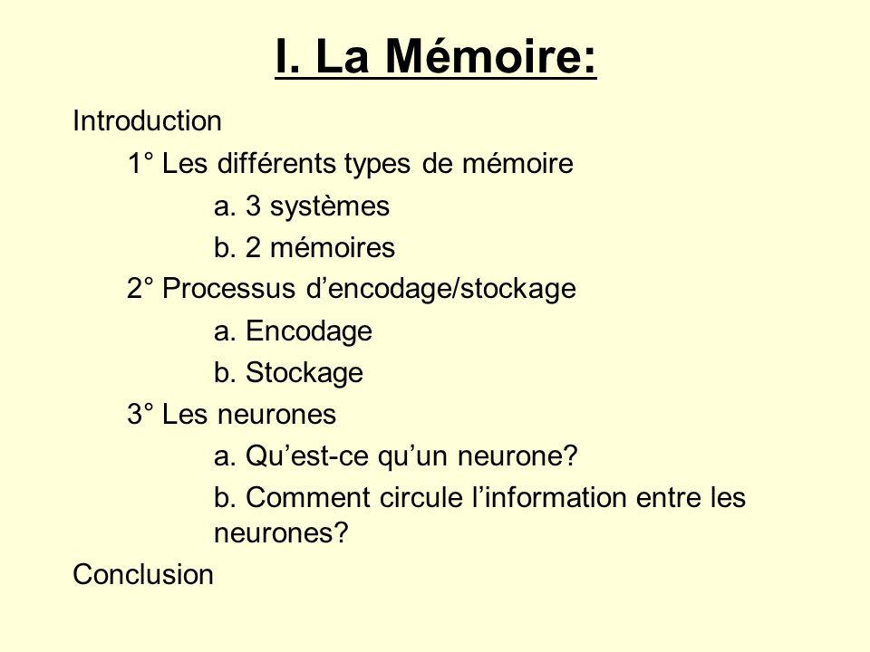 I. La Mémoire: Introduction 1° Les différents types de mémoire a. 3 systèmes b. 2 mémoires 2° Processus dencodage/stockage a. Encodage b. Stockage 3°