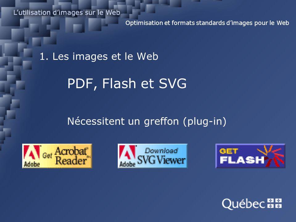1. Les images et le Web PDF, Flash et SVG Optimisation et formats standards dimages pour le Web Nécessitent un greffon (plug-in)