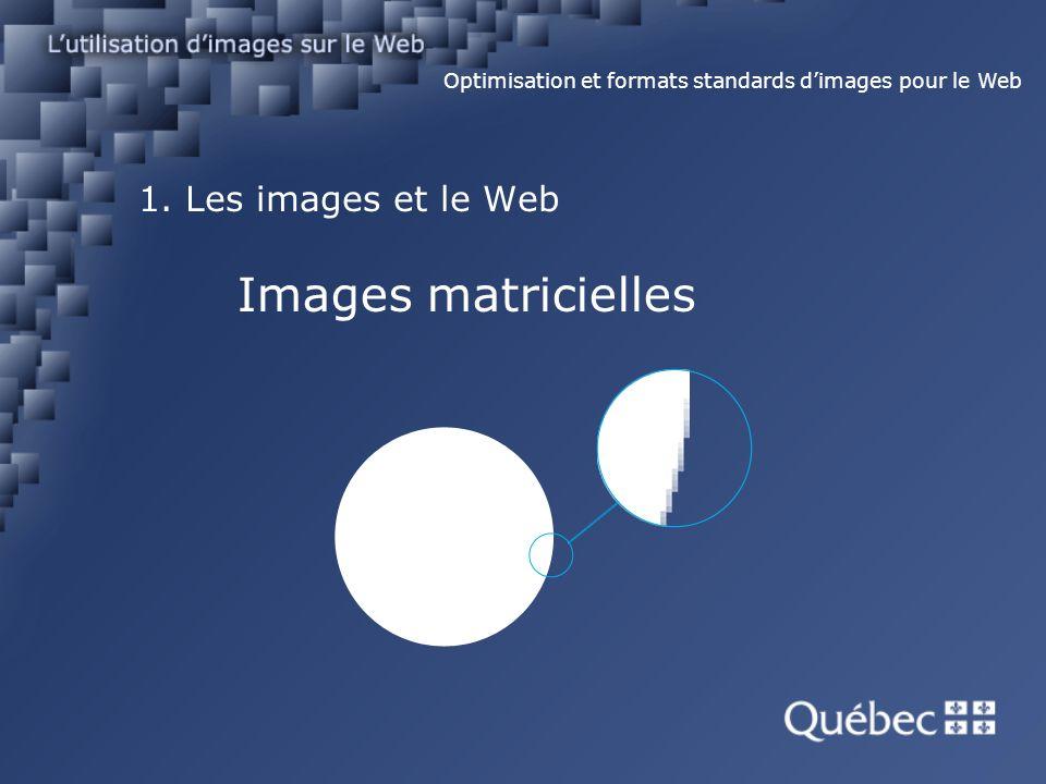 1. Les images et le Web Images matricielles Optimisation et formats standards dimages pour le Web