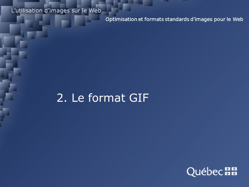 2. Le format GIF Optimisation et formats standards dimages pour le Web