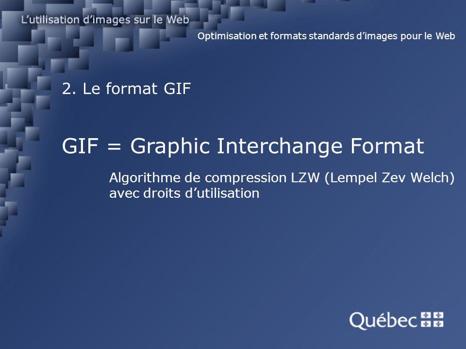 2. Le format GIF Optimisation et formats standards dimages pour le Web GIF = Graphic Interchange Format Algorithme de compression LZW (Lempel Zev Welc