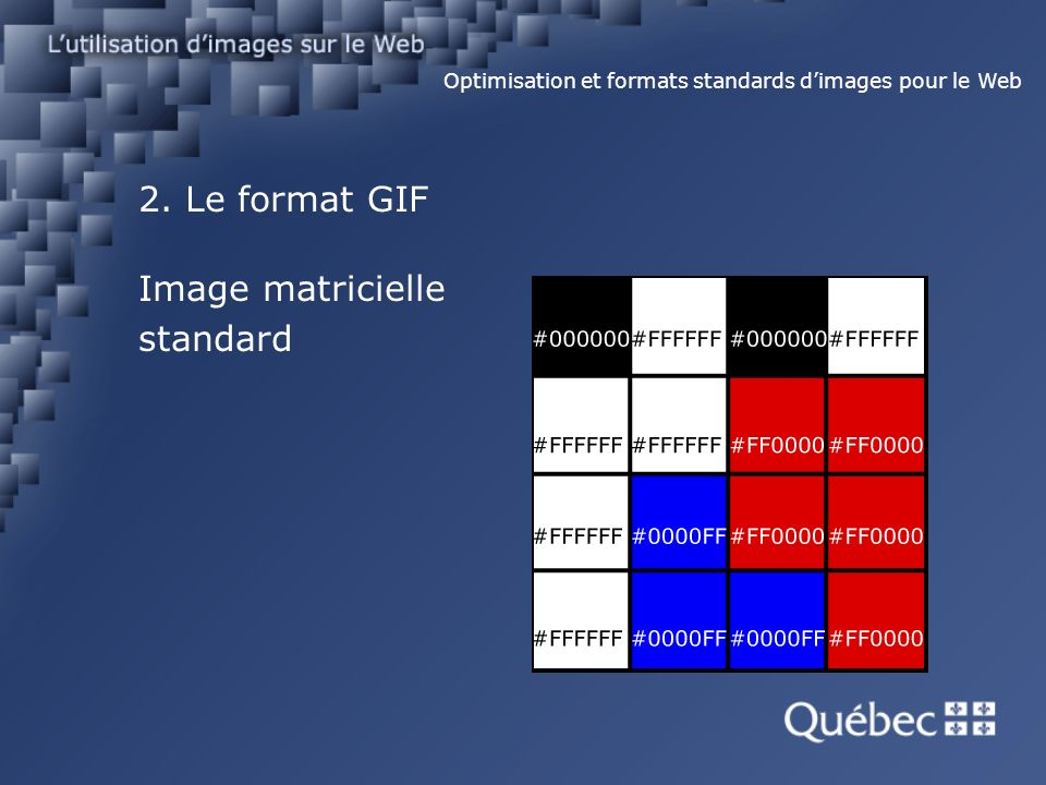 2. Le format GIF Optimisation et formats standards dimages pour le Web Image matricielle standard