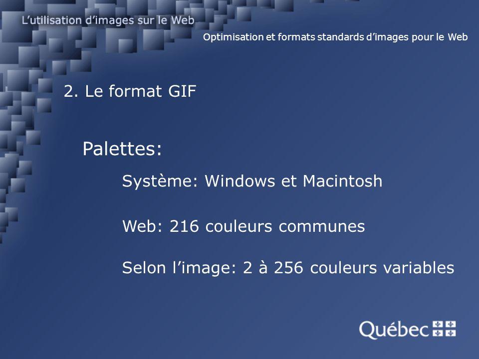 2. Le format GIF Optimisation et formats standards dimages pour le Web Palettes: Système: Windows et Macintosh Web: 216 couleurs communes Selon limage