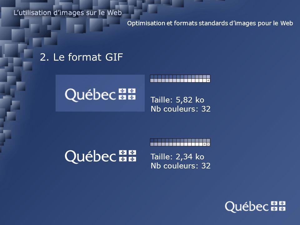 2. Le format GIF Optimisation et formats standards dimages pour le Web Taille: 5,82 ko Nb couleurs: 32 Taille: 2,34 ko Nb couleurs: 32
