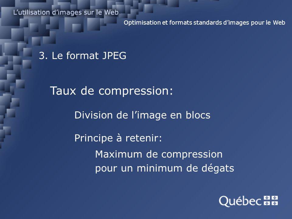 3. Le format JPEG Optimisation et formats standards dimages pour le Web Taux de compression: Division de limage en blocs Principe à retenir: Maximum d