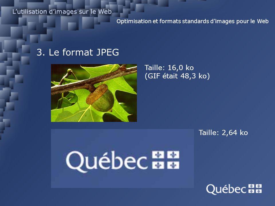 3. Le format JPEG Optimisation et formats standards dimages pour le Web Taille: 16,0 ko (GIF était 48,3 ko) Taille: 2,64 ko