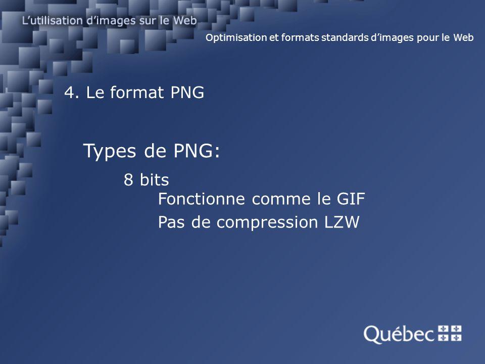 4. Le format PNG Optimisation et formats standards dimages pour le Web Types de PNG: 8 bits Fonctionne comme le GIF Pas de compression LZW