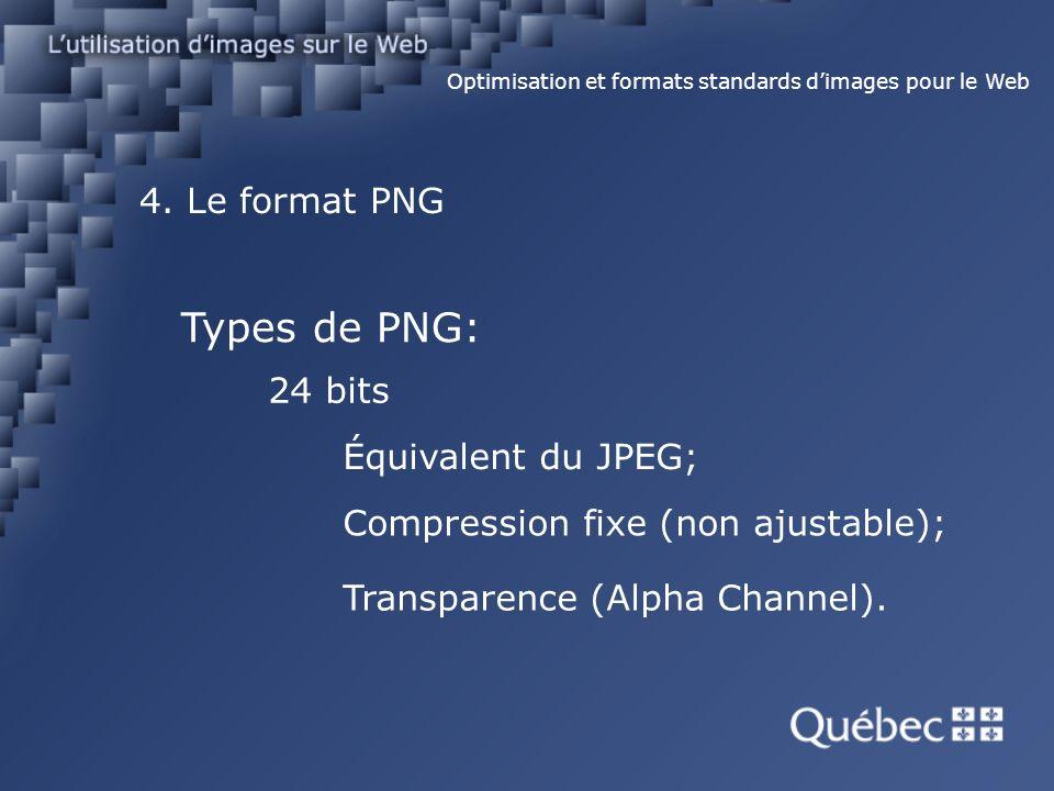 4. Le format PNG Optimisation et formats standards dimages pour le Web Types de PNG: 24 bits Équivalent du JPEG; Compression fixe (non ajustable); Tra