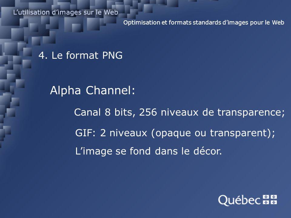 4. Le format PNG Optimisation et formats standards dimages pour le Web Alpha Channel: Canal 8 bits, 256 niveaux de transparence; GIF: 2 niveaux (opaqu