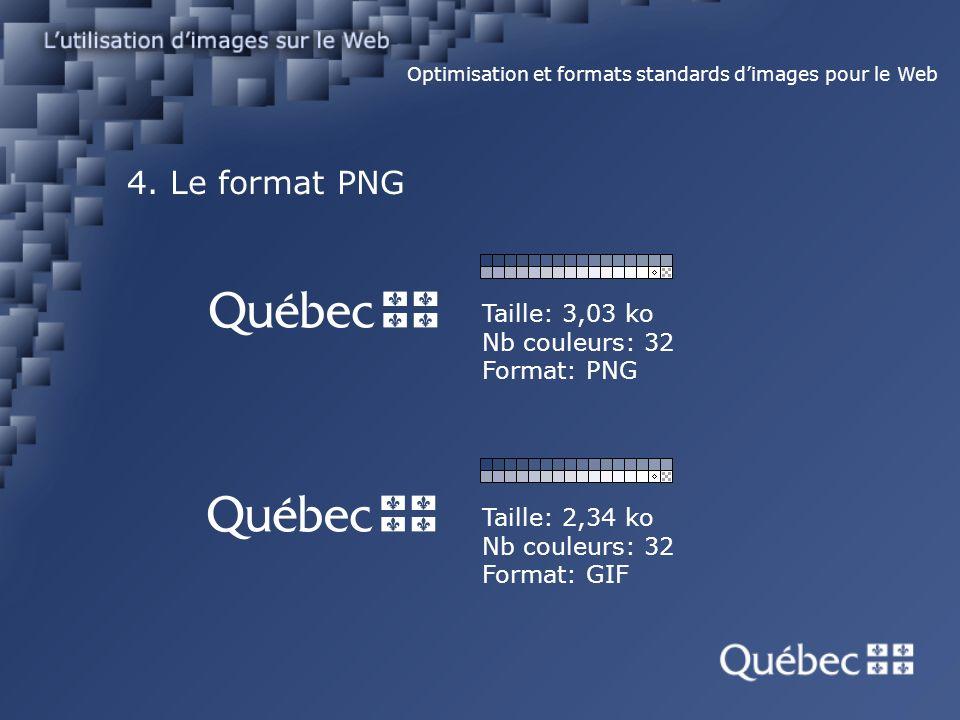 4. Le format PNG Optimisation et formats standards dimages pour le Web Taille: 2,34 ko Nb couleurs: 32 Format: GIF Taille: 3,03 ko Nb couleurs: 32 For