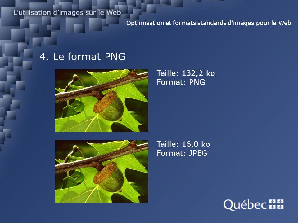 4. Le format PNG Optimisation et formats standards dimages pour le Web Taille: 16,0 ko Format: JPEG Taille: 132,2 ko Format: PNG