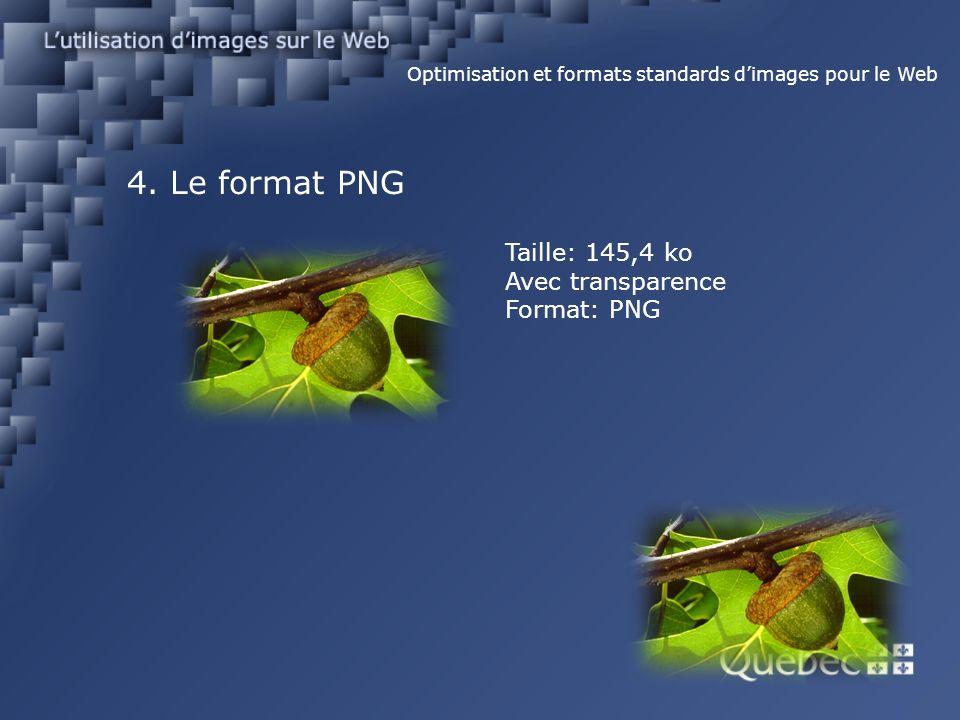 4. Le format PNG Optimisation et formats standards dimages pour le Web Taille: 145,4 ko Avec transparence Format: PNG
