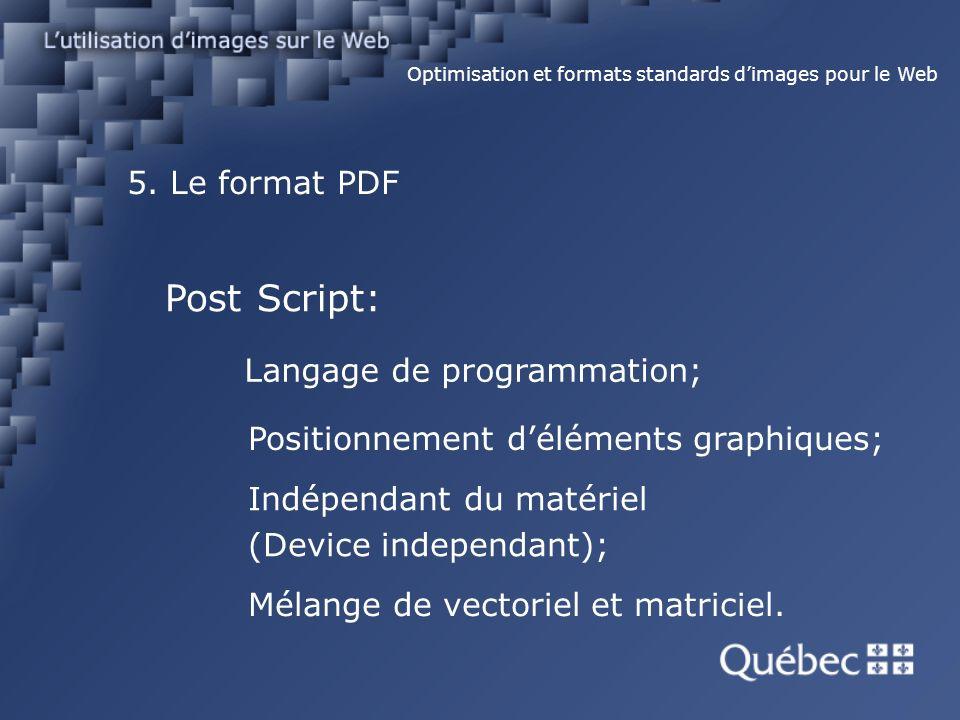 5. Le format PDF Optimisation et formats standards dimages pour le Web Post Script: Langage de programmation; Positionnement déléments graphiques; Ind