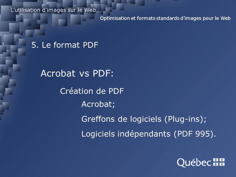 5. Le format PDF Optimisation et formats standards dimages pour le Web Acrobat vs PDF: Création de PDF Acrobat; Greffons de logiciels (Plug-ins); Logi