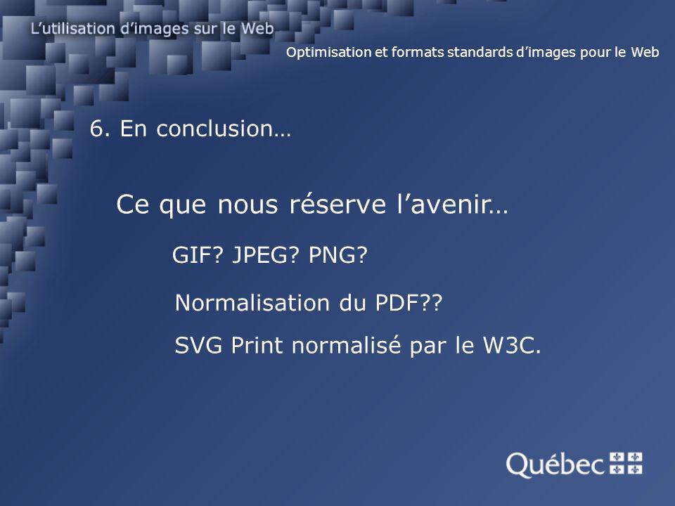6. En conclusion… Optimisation et formats standards dimages pour le Web Ce que nous réserve lavenir… GIF? JPEG? PNG? Normalisation du PDF?? SVG Print