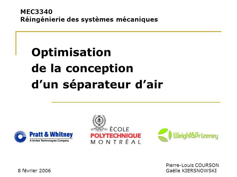 MEC3340 Réingénierie des systèmes mécaniques Optimisation de la conception dun séparateur dair 8 février 2006 Pierre-Louis COURSON Gaëlle KIERSNOWSKI