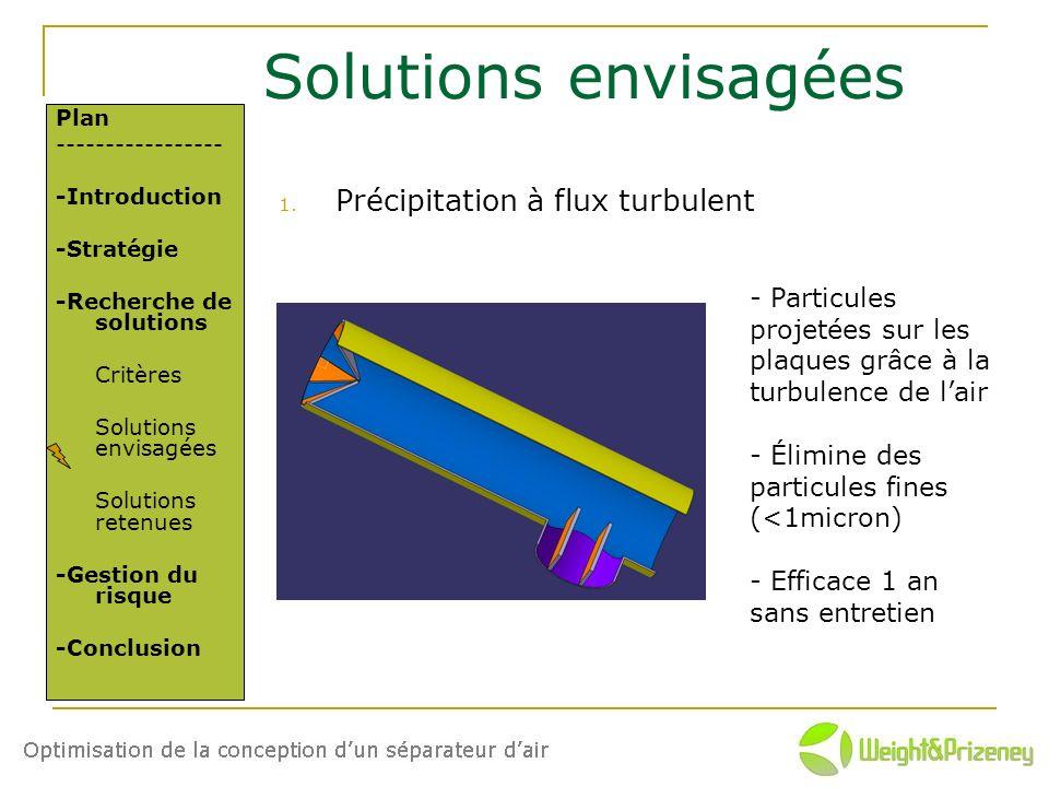 Solutions envisagées 1. Précipitation à flux turbulent Plan ----------------- -Introduction -Stratégie -Recherche de solutions Critères Solutions envi