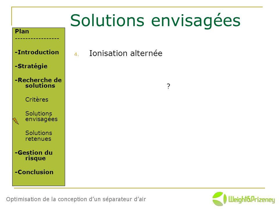 Solutions envisagées 4. Ionisation alternée Plan ----------------- -Introduction -Stratégie -Recherche de solutions Critères Solutions envisagées Solu