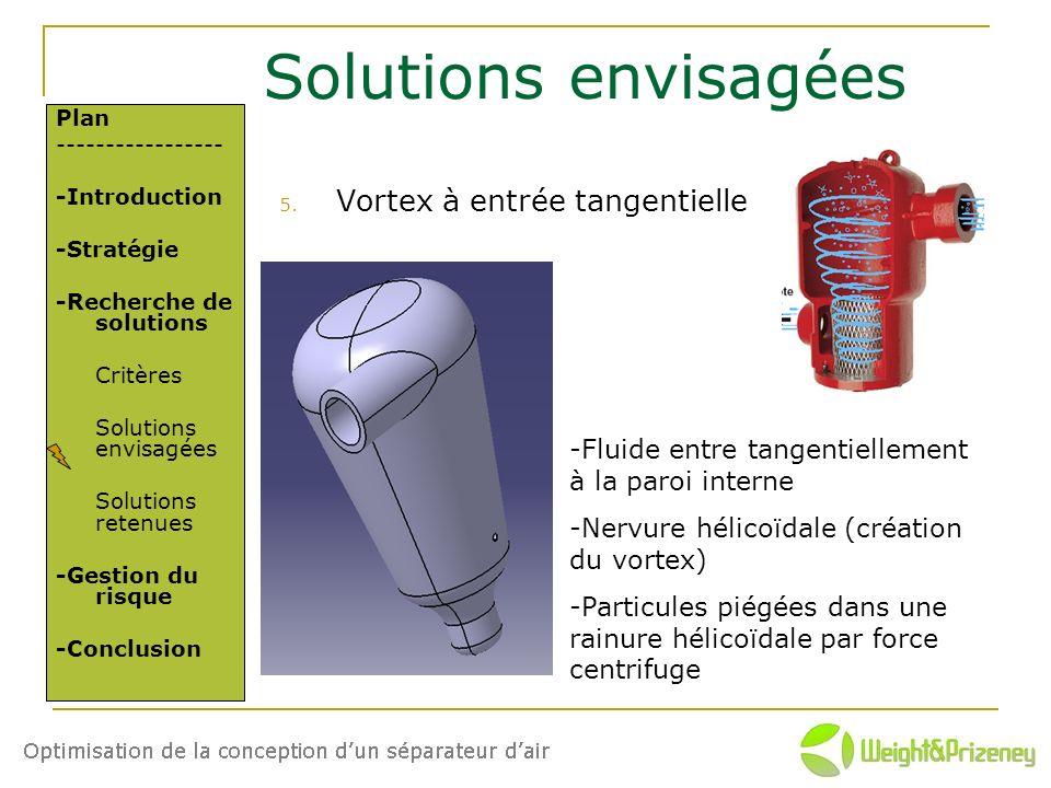 Solutions envisagées 5. Vortex à entrée tangentielle Plan ----------------- -Introduction -Stratégie -Recherche de solutions Critères Solutions envisa