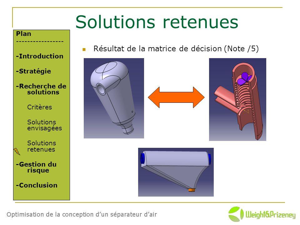 Solutions retenues Résultat de la matrice de décision (Note /5) Plan ----------------- -Introduction -Stratégie -Recherche de solutions Critères Solut