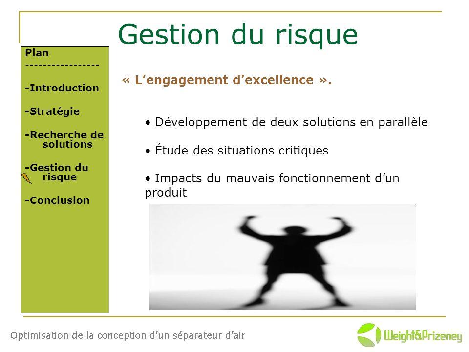 Gestion du risque Plan ----------------- -Introduction -Stratégie -Recherche de solutions -Gestion du risque -Conclusion « Lengagement dexcellence ».