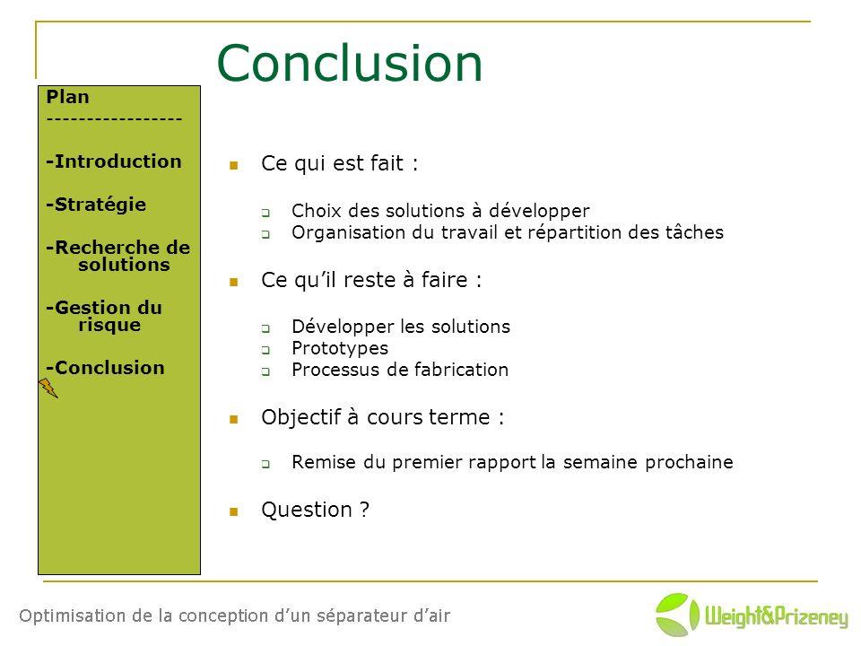 Conclusion Ce qui est fait : Choix des solutions à développer Organisation du travail et répartition des tâches Ce quil reste à faire : Développer les