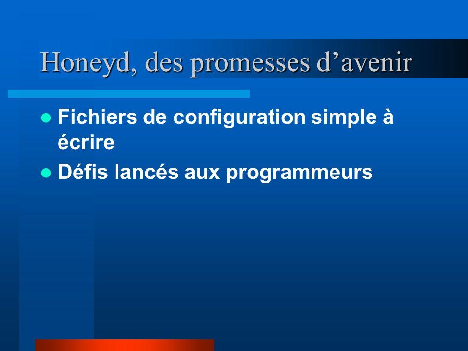 Honeyd, des promesses davenir Fichiers de configuration simple à écrire Défis lancés aux programmeurs