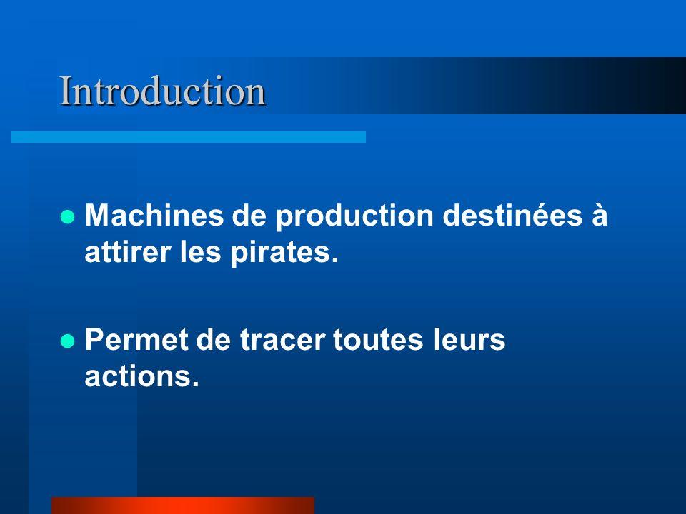 Introduction Machines de production destinées à attirer les pirates. Permet de tracer toutes leurs actions.