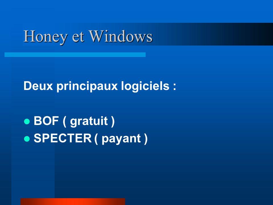 Honey et Windows Deux principaux logiciels : BOF ( gratuit ) SPECTER ( payant )