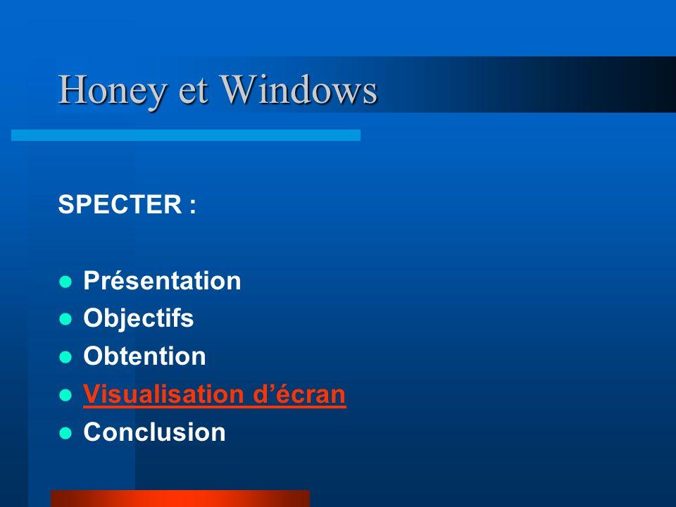 Honey et Windows SPECTER : Présentation Objectifs Obtention Visualisation décran Conclusion