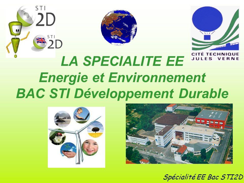 LA SPECIALITE EE Energie et Environnement BAC STI Développement Durable Spécialité EE Bac STI2D