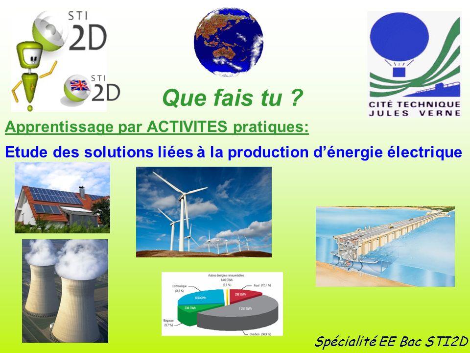 Apprentissage par ACTIVITES pratiques: Spécialité EE Bac STI2D Etude des solutions liées à la production dénergie électrique Que fais tu ?