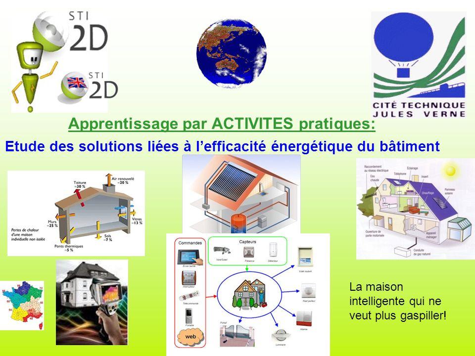 Apprentissage par ACTIVITES pratiques: Etude des solutions liées à lefficacité énergétique du bâtiment La maison intelligente qui ne veut plus gaspiller!