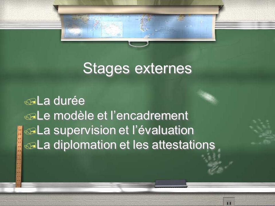 Stages externes / La durée / Le modèle et lencadrement / La supervision et lévaluation / La diplomation et les attestations / La durée / Le modèle et lencadrement / La supervision et lévaluation / La diplomation et les attestations