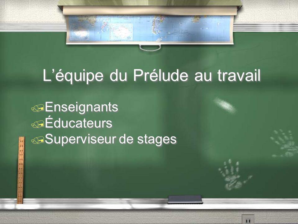 Léquipe du Prélude au travail / Enseignants / Éducateurs / Superviseur de stages / Enseignants / Éducateurs / Superviseur de stages