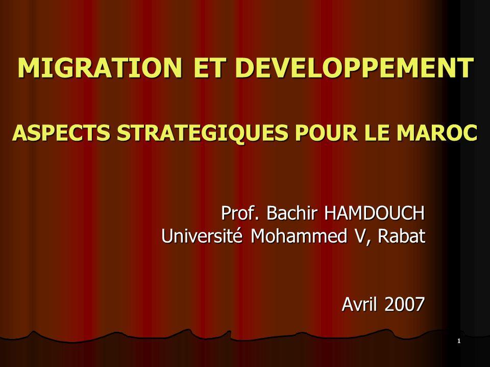 1 MIGRATION ET DEVELOPPEMENT ASPECTS STRATEGIQUES POUR LE MAROC Prof. Bachir HAMDOUCH Université Mohammed V, Rabat Avril 2007
