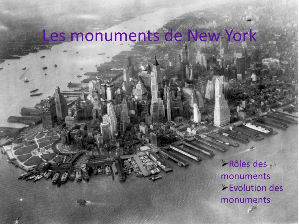 Les monuments de New York Rôles des monuments Evolution des monuments