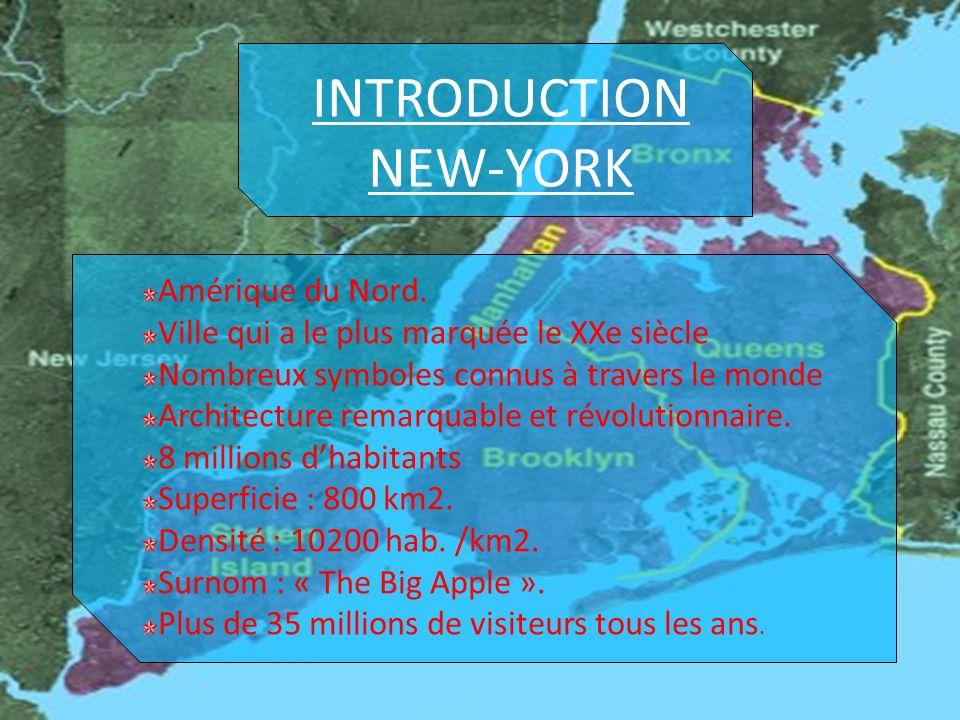 INTRODUCTION NEW-YORK Amérique du Nord.