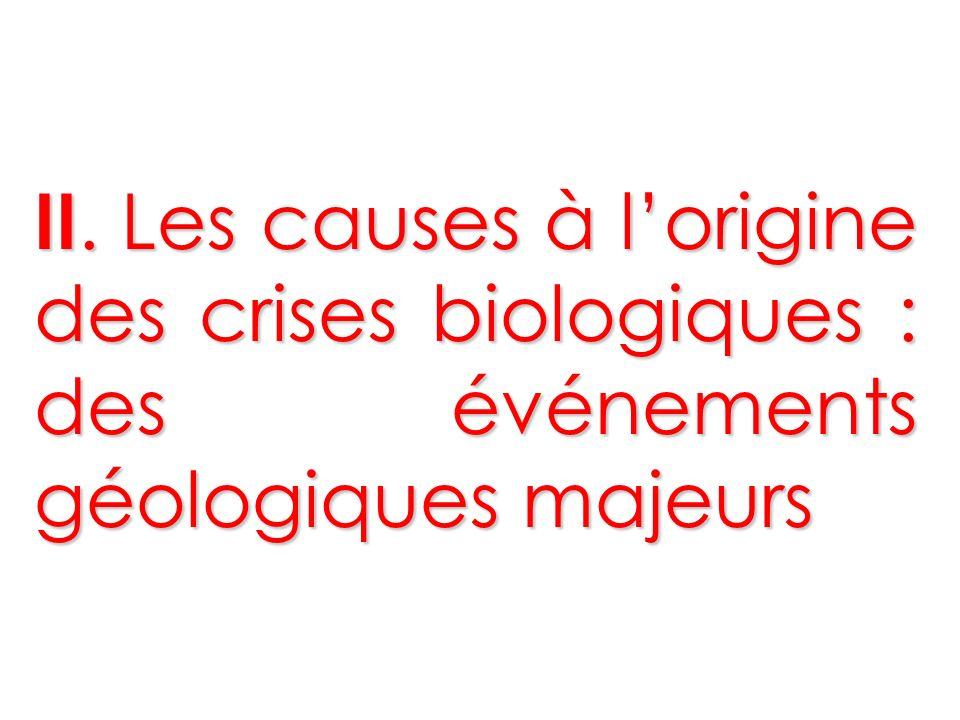 II. Les causes à lorigine des crises biologiques : des événements géologiques majeurs