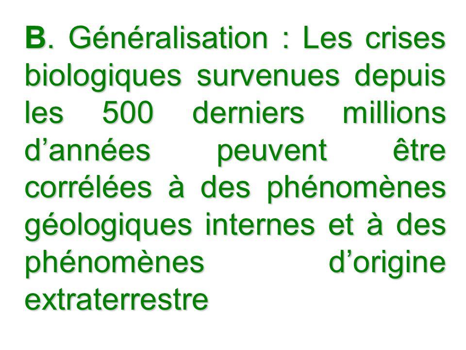 B. Généralisation : Les crises biologiques survenues depuis les 500 derniers millions dannées peuvent être corrélées à des phénomènes géologiques inte