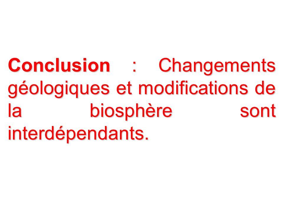 Conclusion : Changements géologiques et modifications de la biosphère sont interdépendants.