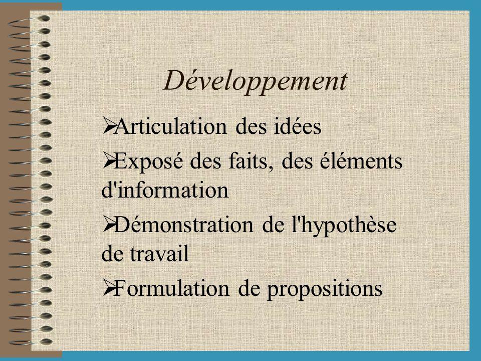 Développement Articulation des idées Exposé des faits, des éléments d'information Démonstration de l'hypothèse de travail Formulation de propositions