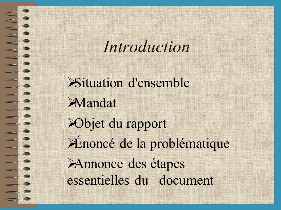 Introduction Situation d'ensemble Mandat Objet du rapport Énoncé de la problématique Annonce des étapes essentielles du document