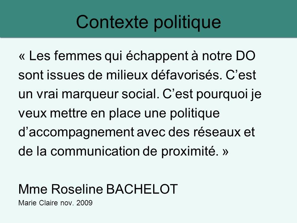 Contexte politique « Les femmes qui échappent à notre DO sont issues de milieux défavorisés.