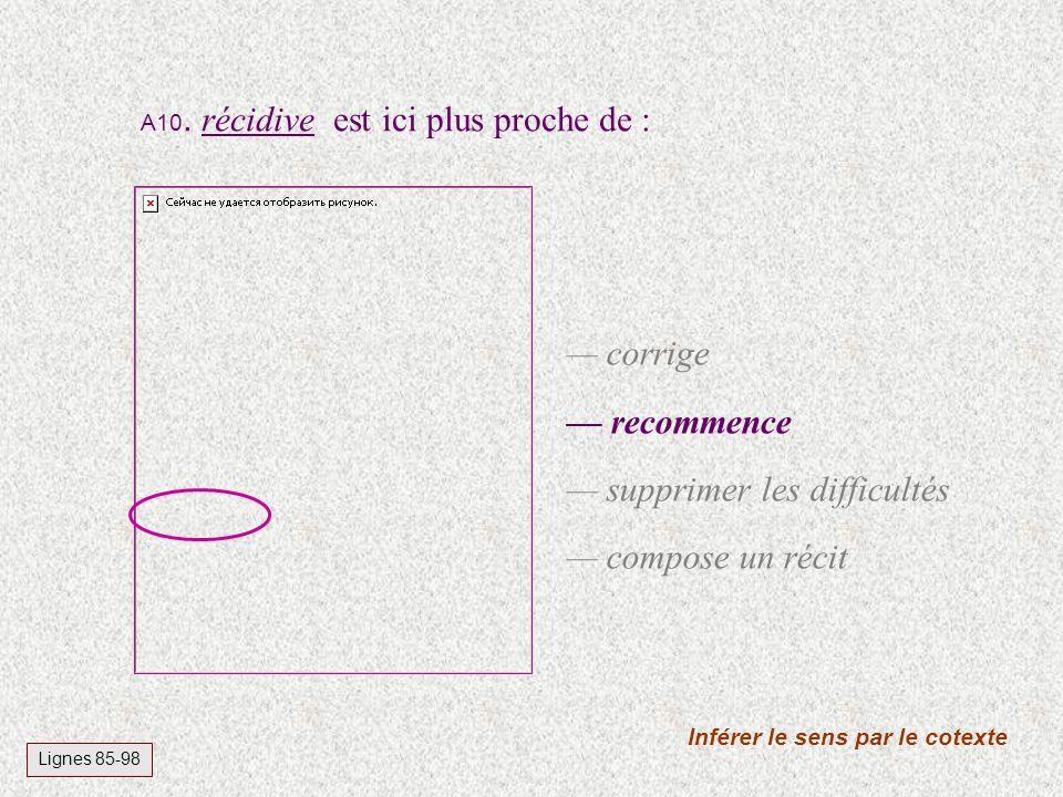A10. récidive est ici plus proche de : Inférer le sens par le cotexte Lignes 85-98 corrige recommence supprimer les difficultés compose un récit