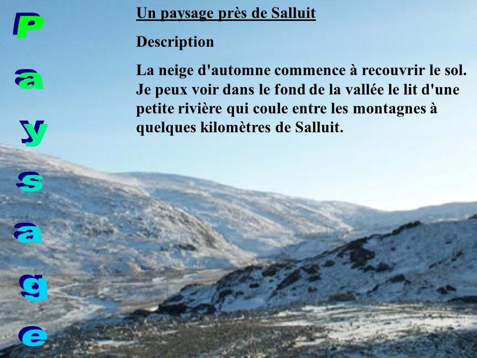 Un paysage près de Salluit Description La neige d automne commence à recouvrir le sol.