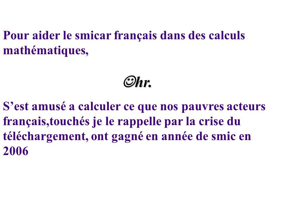 Pour aider le smicar français dans des calculs mathématiques, hr.