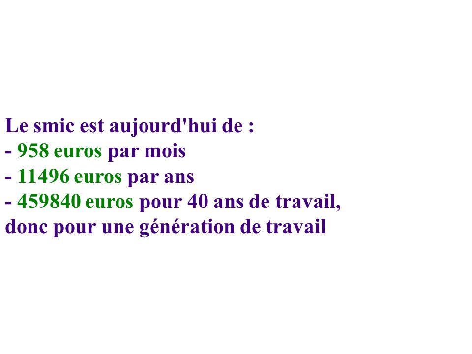 Le smic est aujourd hui de : - 958 euros par mois - 11496 euros par ans - 459840 euros pour 40 ans de travail, donc pour une génération de travail