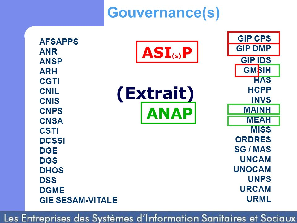 AFSAPPS ANR ANSP ARH CGTI CNIL CNIS CNPS CNSA CSTI DCSSI DGE DGS DHOS DSS DGME GIE SESAM-VITALE GIP CPS GIP DMP GIP IDS GMSIH HAS HCPP INVS MAINH MEAH