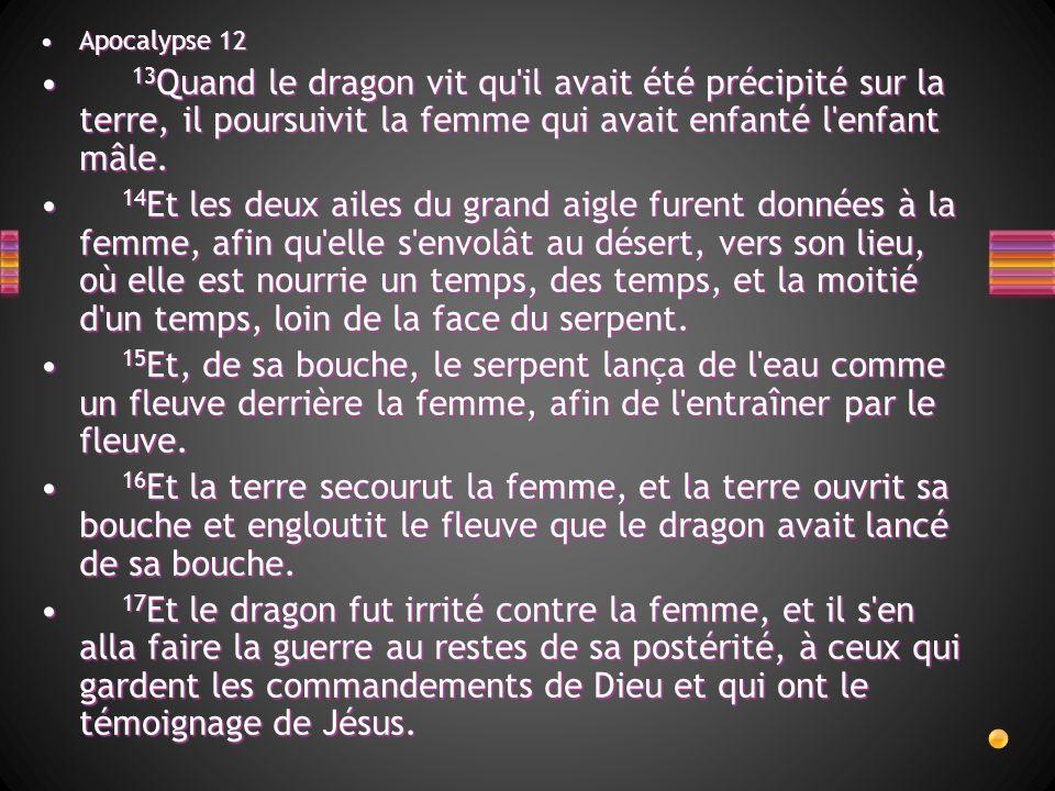 Apocalypse 12Apocalypse 12 13 Quand le dragon vit qu'il avait été précipité sur la terre, il poursuivit la femme qui avait enfanté l'enfant mâle. 13 Q